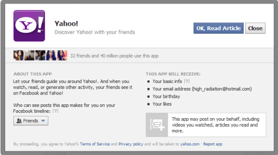 a picture asking for facebook application permissions
