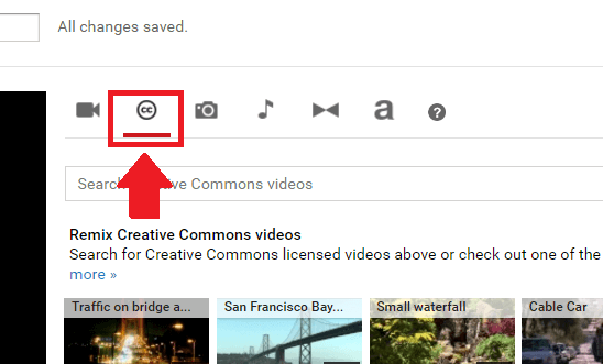 Click on the Creative Commons Tab