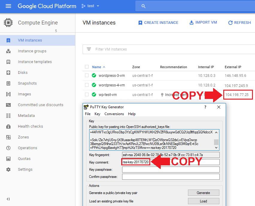 google cloud ftp copy key