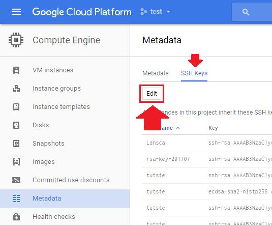 google cloud ftp metadata edit ssh keys