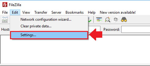 google cloud ftp filezilla navigate to settings