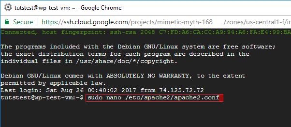 google cloud apache2 configuration file
