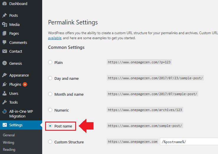 migrate wordpress installation permalink dashboard