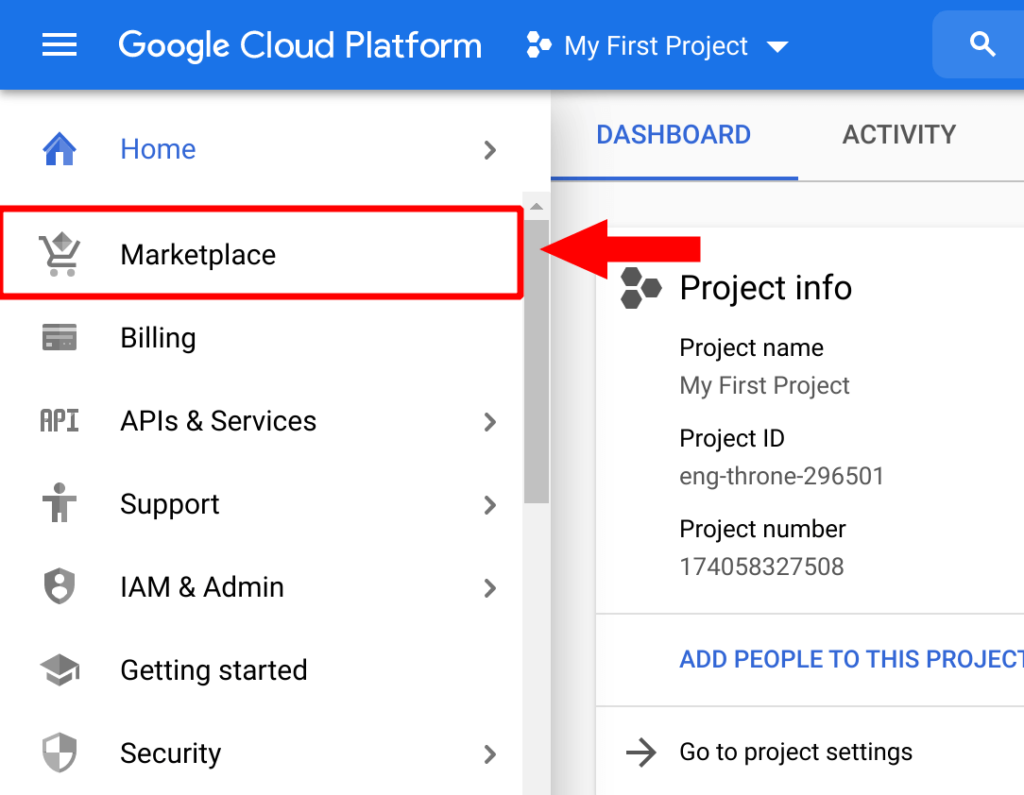 navigate to marketplace in google cloud sidebar menu