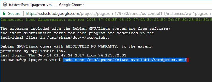 ssl certificate setup wordpress google cloud click to deploy
