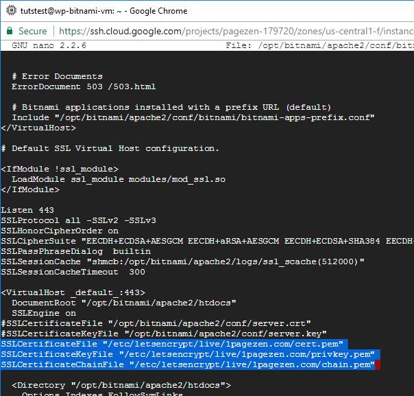 ssl certificate setup wordpress google cloud platform compute engine bitnami