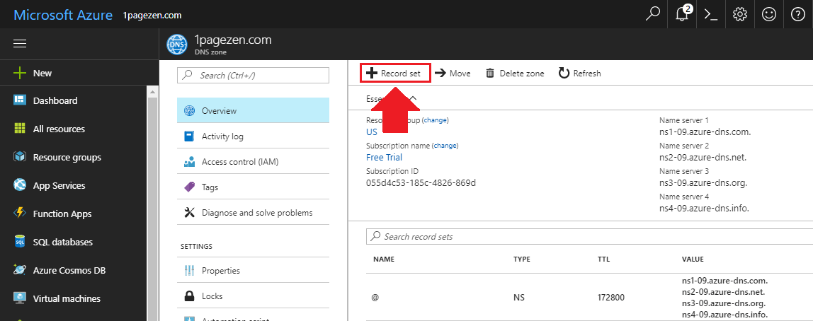 transfer domain name to azure create dns zone add record set