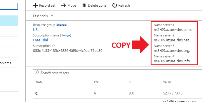 transfer domain name to azure create dns zone add record set copy nameservers