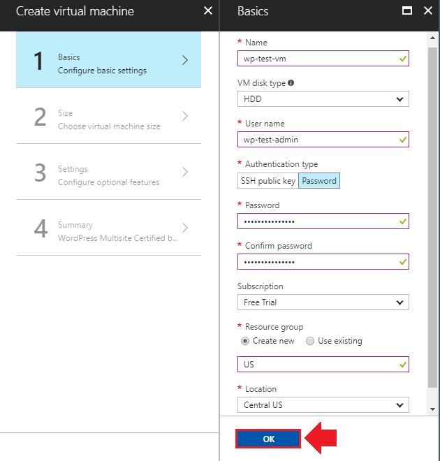 how to install wordpress on azure basic settings