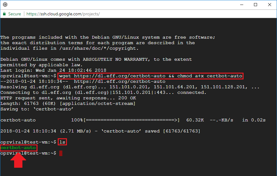 execute ls command to view certbot installation