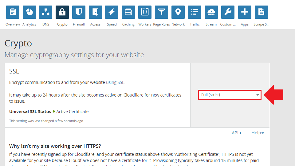 select the full strict ssl setting