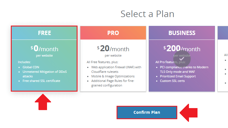 select the free plan option