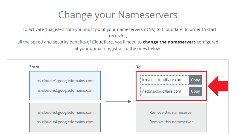 copy cloudflare nameservers