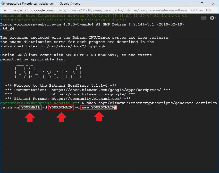 setup free ssl certificates wordpress on google cloud bitnami