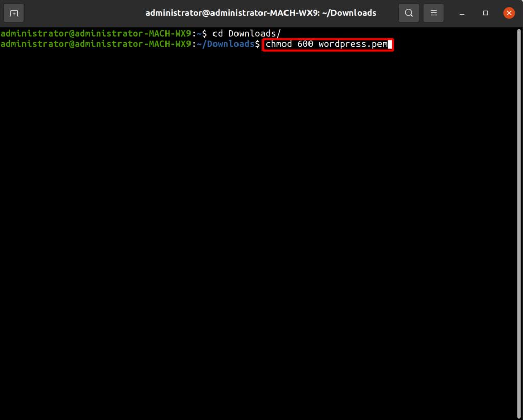 change permissions of wordpress.pem file