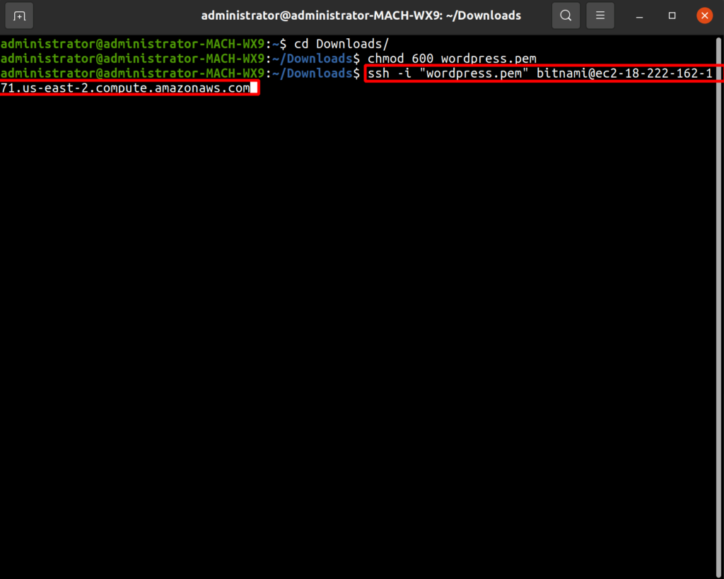 enter ssh command to connect to instance